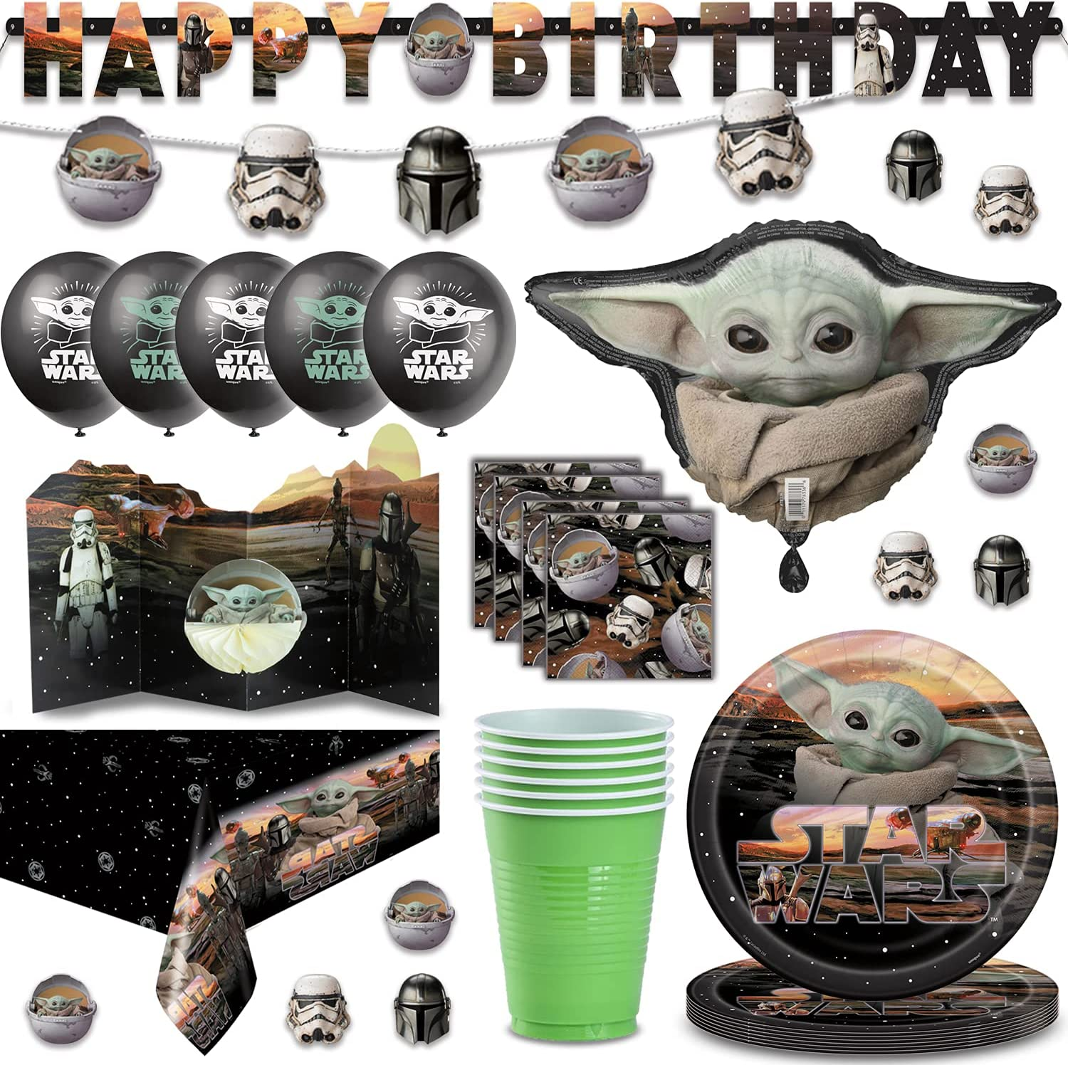 Raleigh Mall Baby Yoda Party Supplies for 16 Foil - Napkins Cups Ba Limited price Plates