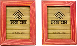 Rustic Wooden Picture Frame 4x6 Inch - Set of 2-100% Natural Eco Barn Wood with Real Glass - Made for Wall Hanging and Tabletop Display - Red