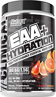 Nutrex Research EAA Hydration | 8 Grams of High Performance Essential Amino Acids for Muscle Growth, Strength & Recovery | BCAA's, EAA's, Electrolytes, AstraGin | 30 Servings (Blood Orange)