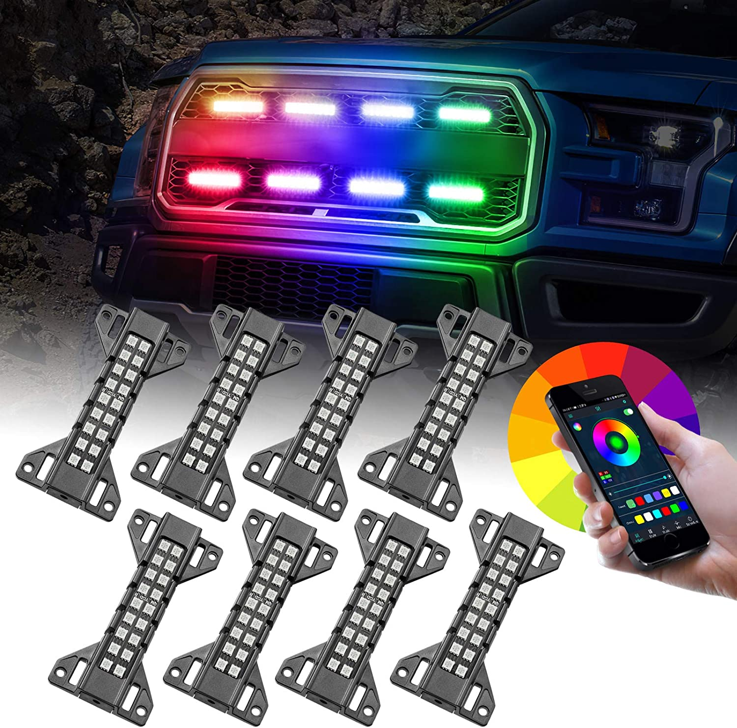 RGB LED San Francisco Mall Grille Lights OFFROADTOWN 8 for Lighting G Outlet SALE Kit Pack