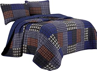 Chezmoi Collection Sherman 3-Piece Printed Plaid Patchwork 100% Washed Microfiber Quilt Set Twin Size