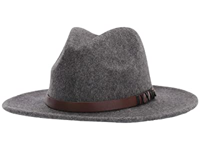 San Diego Hat Company WFH1207 Wool Fedora w/ Faux Leather Band (Grey) Caps