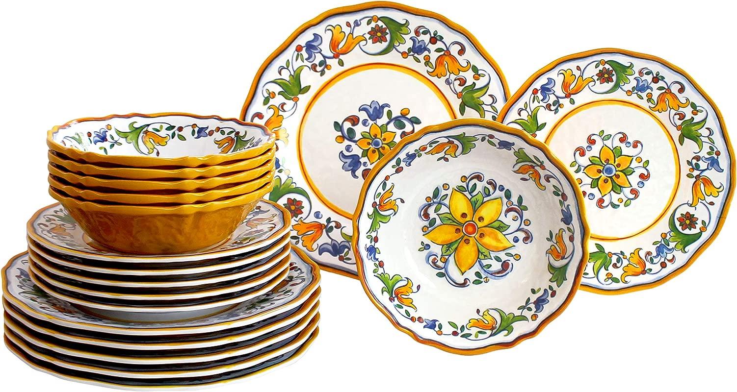 Le Cadeaux 18 Piece Luxury Melamine Dinnerware Set Service For 6 Capri