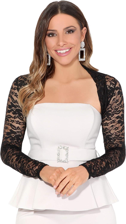 Women Ladies Lace Evening Shrug Party Crop Stretch Top Wrap Bolero Cocktail