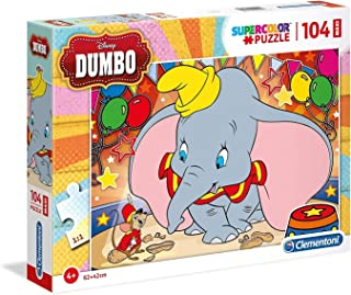 Clementoni 23728 23728-Supercolor Puzzle-Dumbo-104 Pieces Maxi, Multi-Coloured