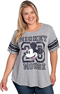 Disney Women's Plus Size Mickey Mouse Football Jersey Tee