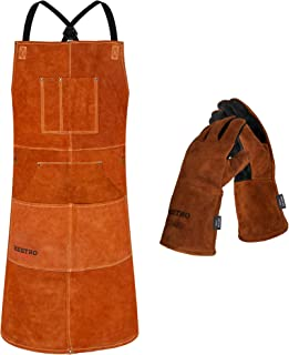 BEETRO Welding Apron with Gloves, Leather Shop Apron with 6 Tool Pockets, Heat & Flame Resistant...