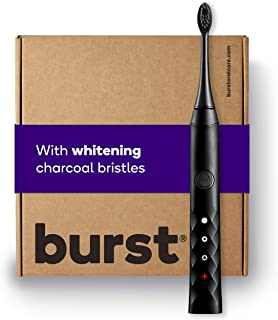 BURST Electric Toothbrush for Mothers Day Gift with Charcoal Sonic Toothbrush Head, Deep Clean, Fresh Breath & Healthier Smile, 3 Modes - Whitening, Sensitive, Massage, Black [Packaging May Vary]