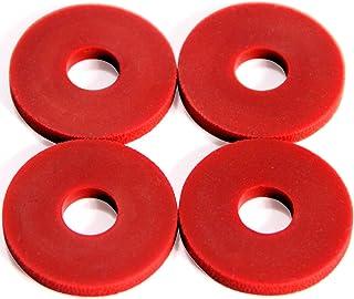 Stay Put Strap Locks - Premium Silicone Rubber Guitar Strap Blocks (4, Red)