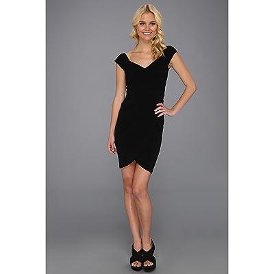 Nicole Miller Stella Matte Jersey Sleeve Dress (Black) Women