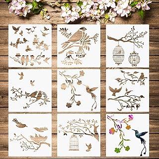 8 Pieces Birds Stencils Bird Tree Branches Stencil Flying Bird Painting Template Stencil Bird Flower Leaf Drawing Reusable...