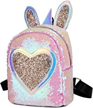 Kids Toddler Backpack Cute Mermaid Reversible Sequin Mini School Bag PU Leather Waterproof Backpack for Girls (Pink-64)