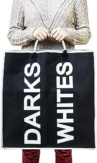 Tatkraft Space tyg tvättpåse och sorterare med 2 sektioner för vita och dunkar med handtag 62L svart