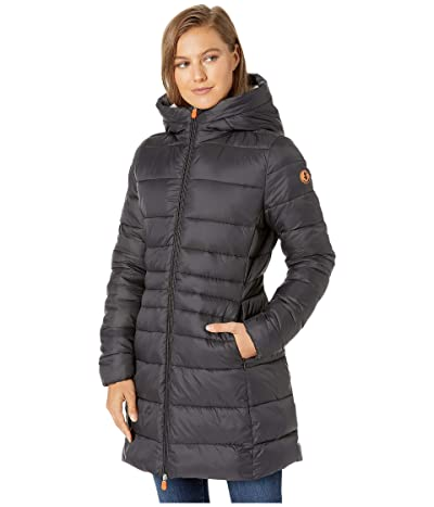 Save the Duck Giga 9 Puffer Coat with Sherpa Lining (Black) Women