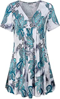MOQIVGI Women's V Neck Printed Loose Fit Casual Blouse Top Tunic Shirt