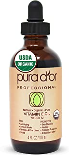 PURA D'OR Organic Vitamin E Oil (4oz / 118mL) 70,000 IU 100% Pure Natural USDA Organic For Skin Face Hexane Free w/Sweet Almond, Apricot, Jojoba, Argan, Rosehip, Sunflower & Avocado Oil For Bath Body