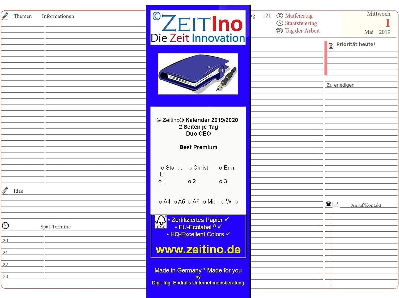 ZeitIno Kalender 2019, für Quo Vadis 21, CEO, A5, 1 Tag auf 2 Seiten B074S8Q2W8 | Clearance Sale
