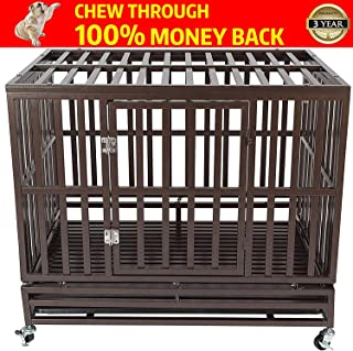Gelinzon Heavy Duty Dog Cage Crate Kennel Roof Strong Metal for Large Dogs, Easy to Assemble Pet Playpen with Four Wheels