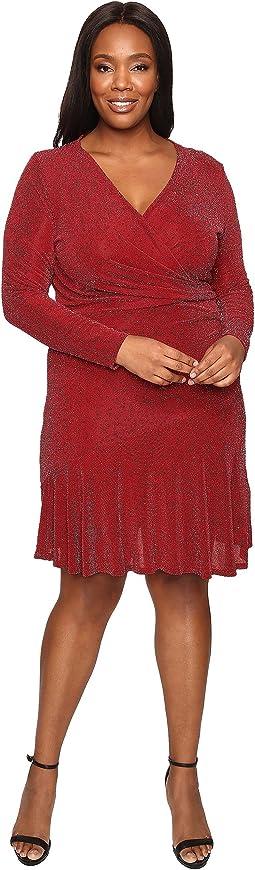 Plus Size Long Sleeve Wrap Flounce Dress