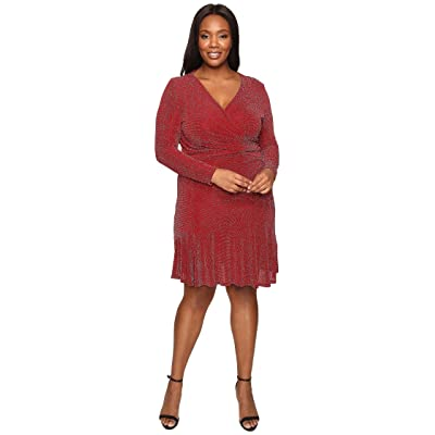 MICHAEL Michael Kors Plus Size Long Sleeve Wrap Flounce Dress (Cinnabar) Women