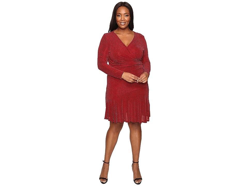 MICHAEL Michael Kors Plus Size Long Sleeve Wrap Flounce Dress (Cinnabar) Women