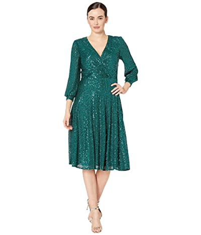 Tahari by ASL Long Sleeve Fully Sequin Dress (Emerald Sequin) Women