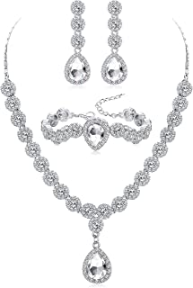 Crystal Bridal Jewelry Set for Women Rhinestone Necklace Bracelet and Earrings Set for Wedding Bridesmaid