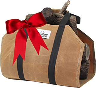 Large-Capacity Firewood Carrier with Strong Handles, Sturdy Waxed Canvas Log Carrier - Water-Resistant Firewood Holder Indoor - Thick Canvas Log Carrier, Fire Wood Bag