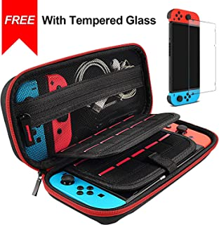 daydayup Hestia Goods Switch Case and Tempered Glass Screen Protector for Nintendo Switch - Deluxe Hard Shell Travel Carrying Case, Pouch Case for Nintendo Switch Console & Accessories, Streak Red