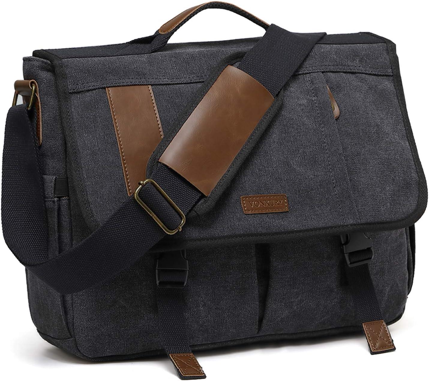 Messenger Bag for Men,Water Resistant Canvas 15.6 inch Laptop Shoulder Bag Vintage Satchel Bag for Work School Travel by VONXURY