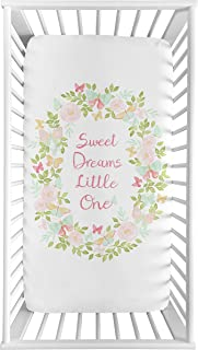 Sweet Jojo Designs Blush Pink, Mint and White Watercolor Rose Baby or Toddler Fitted Crib Sheet for Butterfly Floral Collection - Sweet Dreams Little One