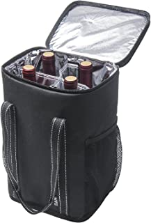 Vina 4 Bottle Wine Carrier - Travel Insulated Wine Carrying Case Cooler Tote Bag with Detachable Divider and Strong Handle, Great for Picnic, Beach Days,Party, Black