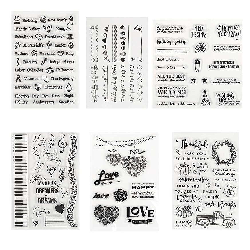 Kesoto Clear Stamps Seal for Cards Making DIY Scrapbooking Photo Card Album Decoration, 6 Sheets