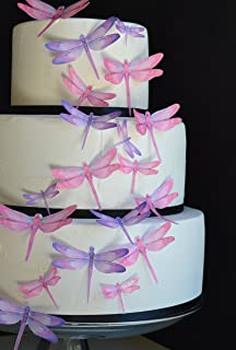 Edible Dragonflies © - Set of 30 Pink and Purple- Cake Decorations, Cupcake Topper