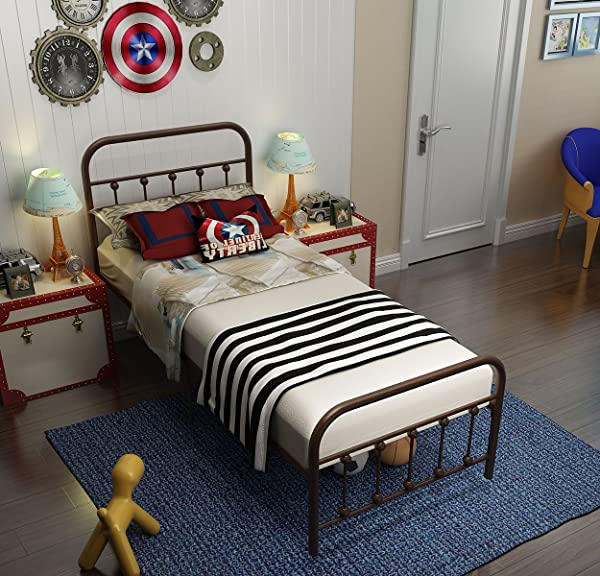 TEMMER Reinforced Metal Bed Frame Twin Size With Headboard And Stable Metal Slats Boxspring Replacement Footboard Single Platform Mattress Base Metal Tube And Antique Brown Baking Paint