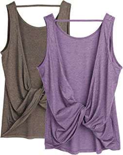 Workout Tank Tops for Women - Open Back Strappy Athletic Tanks, Yoga Tops, Gym Shirts(Pack of 2)