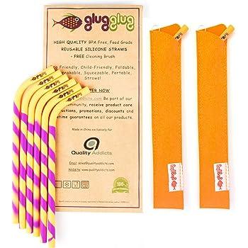x2 + Brosse de Nettoyage glugglug Pailles Reuitilisables Chemise x2