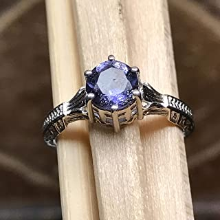 Natural 1ct Iolite 925 Solid Sterling Silver Engagement Ring Size 8, 9