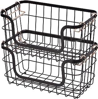 AmazonBasics Stackable Metal Storage Baskets for Kitchen or Bathroom