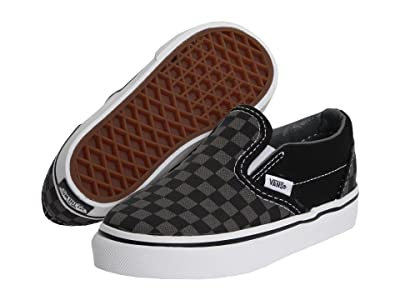 Vans Kids Classic Slip-On Core (Toddler) ((Checkerboard) Black/Pewter) Kids Shoes