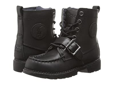 Polo Ralph Lauren Kids Ranger Hi II (Little Kid) (Black Leather) Boys Shoes