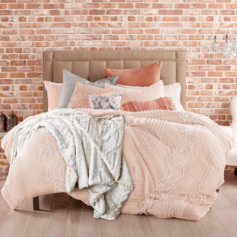 Peri Home 100% Cotton 3-Piece Comforter and Sham Set, Full/Queen, Blush Cut Geo