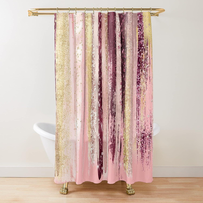Rose Gold Metallic Glitter Brush Max discount 45% OFF Curtains Shower Stroke Fabric