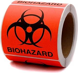 ChromaLabel 4 x 4 inch Fluorescent Red-Orange Biohazard Warning Stickers   250/Roll
