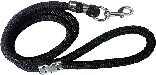 Petshop7 Stylish Plain Dog Rope Leash, 15mm, Medium (Black)