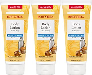 Burt's Bees Body Lotion for Normal to Dry Skin, Milk/Honey, 18 Ounce (Pack of 3)