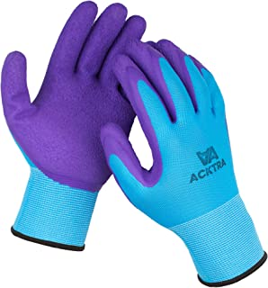 ACKTRA Wholesale Pack of 120 Pairs Premium Coated Nylon Safety WORK GLOVES, Knit Wrist Cuff, for Gardening and General Purpose, for Men & Women, WG009 Blue Polyester, Purple Latex, X-Large