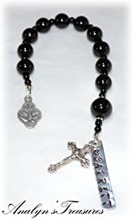 Personalized Confirmation Chaplet/Pocket Rosary - Black Jasper Beads - One Decade Rosary - Catholic / Religious Gift
