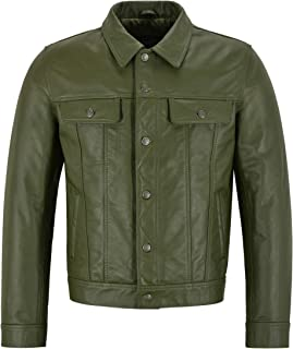 Men's New Trucker Olive Green Leather Jacket Classic Cowhide Leather Shirt Style Jacket 1280
