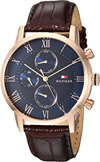 Men's Sophisticated Sport Stainless Steel Quartz Watch with Leather Strap, Brown, 22 (Model: 1791399)